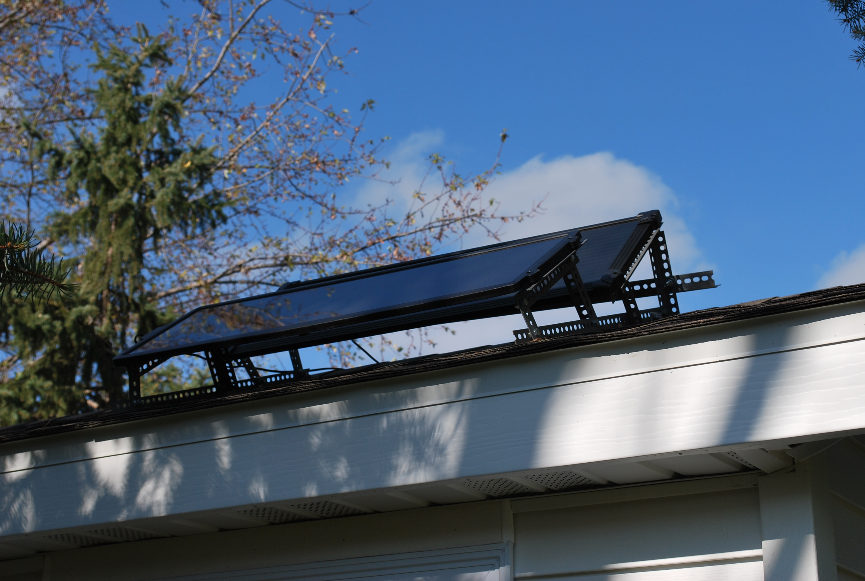 Solar panel on shed close up